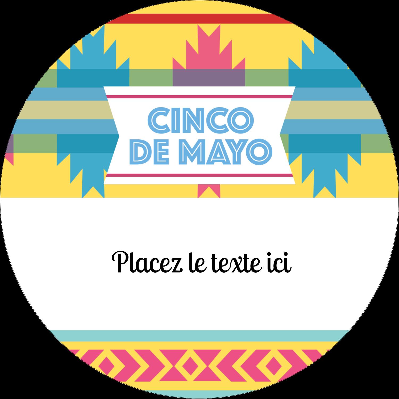 """3"""" x 2¼"""" Étiquettes arrondies - Serape de Cinco de Mayo"""