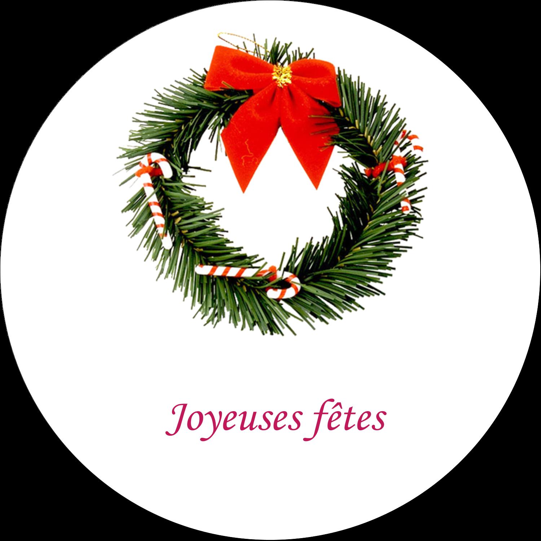 """2½"""" Diameter Étiquettes rondes - Couronne de Noël"""
