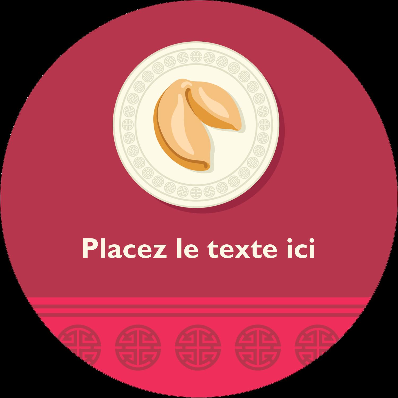 """3"""" x 2¼"""" Étiquettes arrondies - Nouvel An chinois avec biscuit"""
