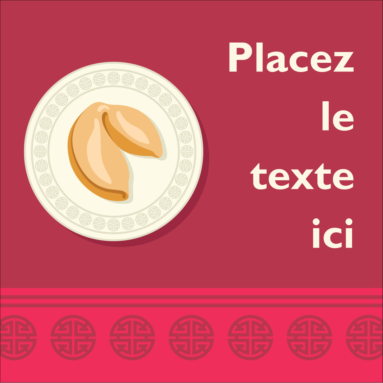 """9¾"""" x 1¼"""" Étiquettes enveloppantes - Nouvel An chinois avec biscuit"""