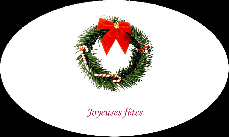 """1½"""" x 2½"""" Étiquettes ovales - Couronne de Noël"""