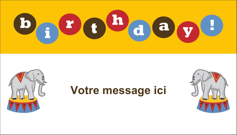 """2"""" x 3½"""" Carte d'affaire - Anniversaire au cirque"""