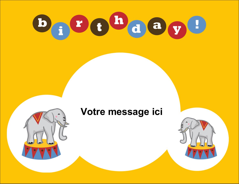 """8½"""" x 11"""" Cartes Et Articles D'Artisanat Imprimables - Anniversaire au cirque"""