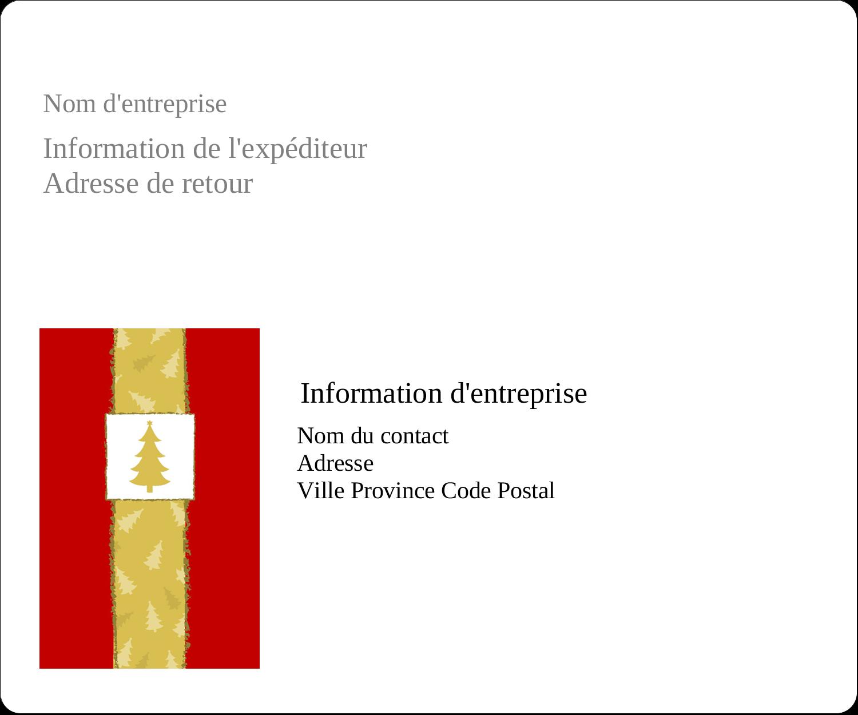 """½"""" x 1¾"""" Étiquettes D'Adresse - Arbre de Noël sur fond rouge"""