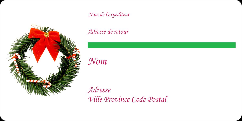 """3-7/16"""" x ⅔"""" Étiquettes de classement écologiques - Couronne de Noël"""