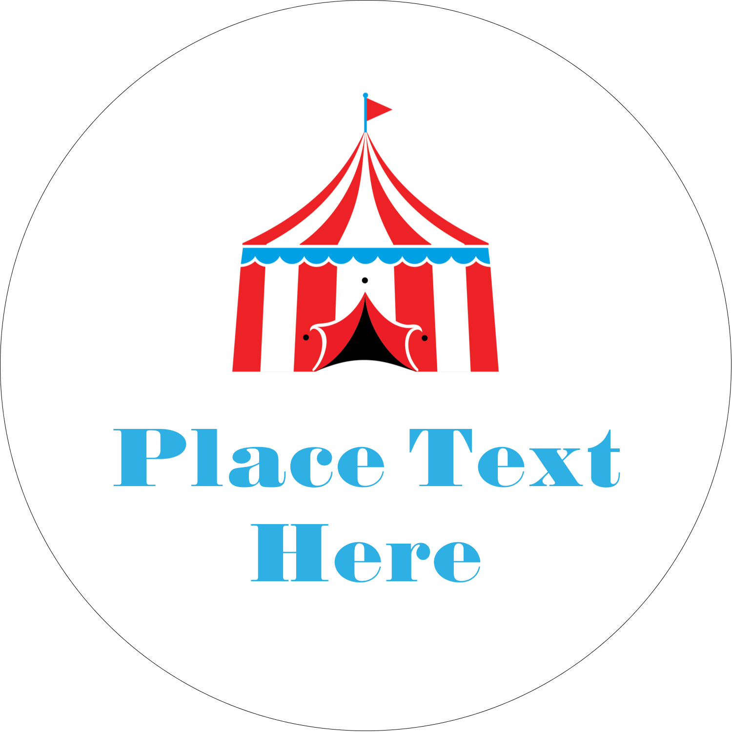 "2"" Embossed Round Label - Circus Tent"