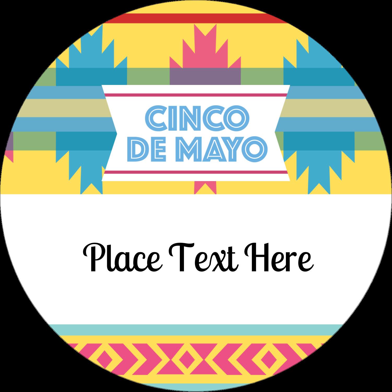 "2"" Round Label - Cinco de Mayo Serape"
