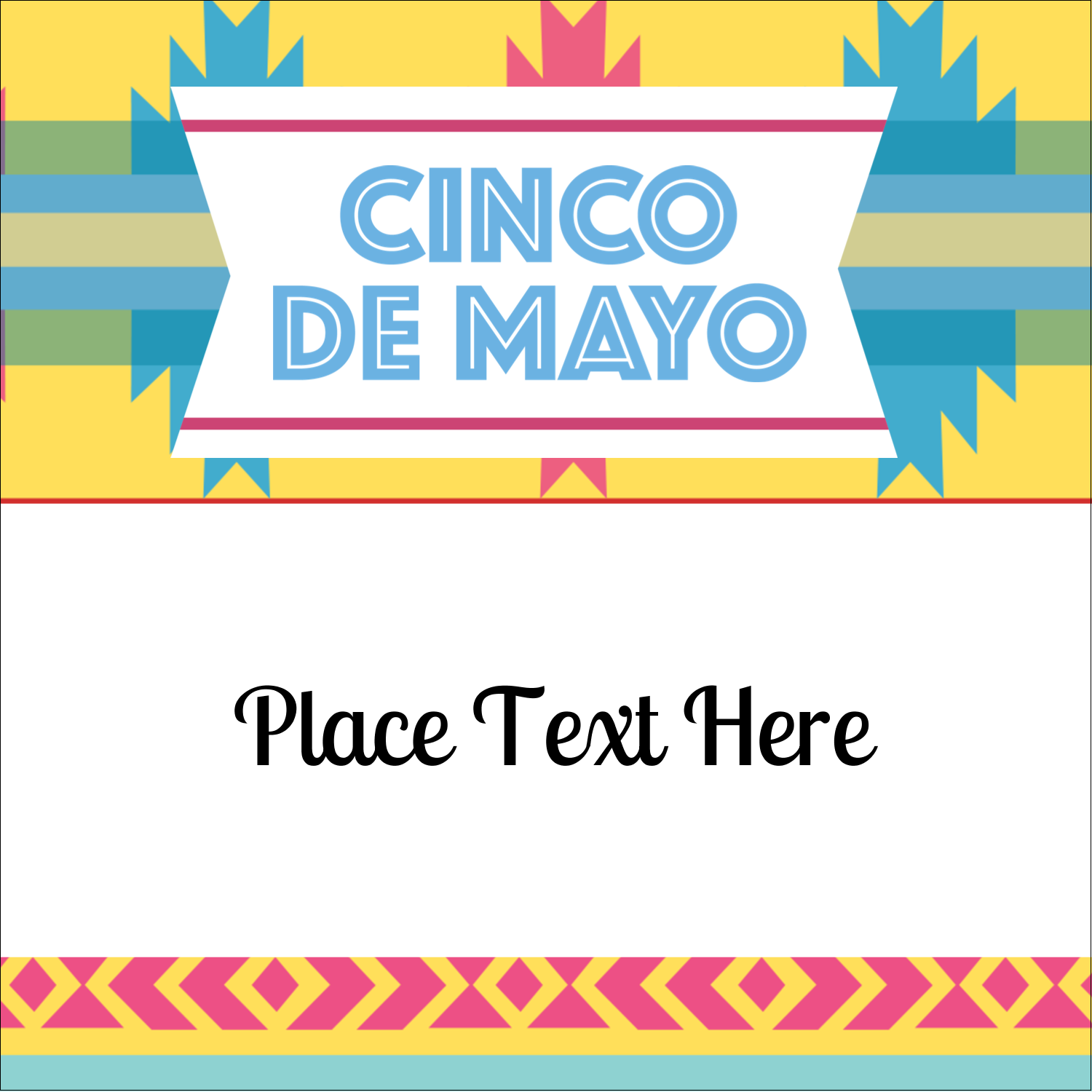"2"" x 2"" Sqaure Label - Cinco de Mayo Serape"