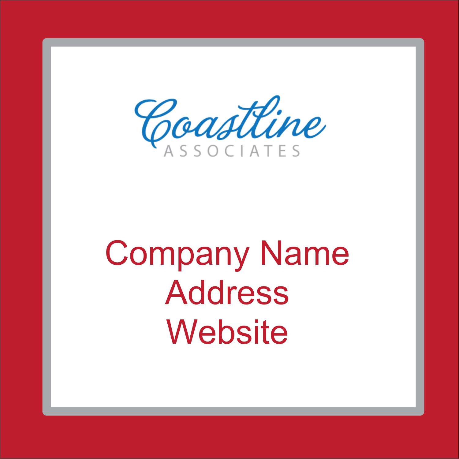 "1½"" x 1½"" Square Label - Coastline Red"