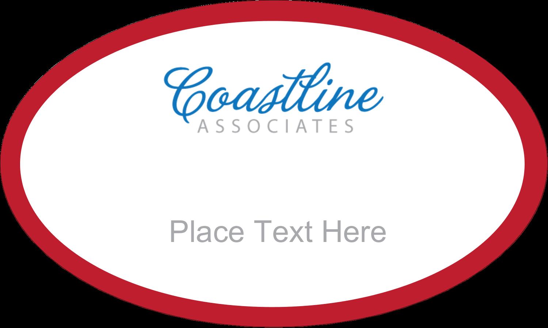 "1½"" x 2½"" Oval Glossy Label - Coastline Red"
