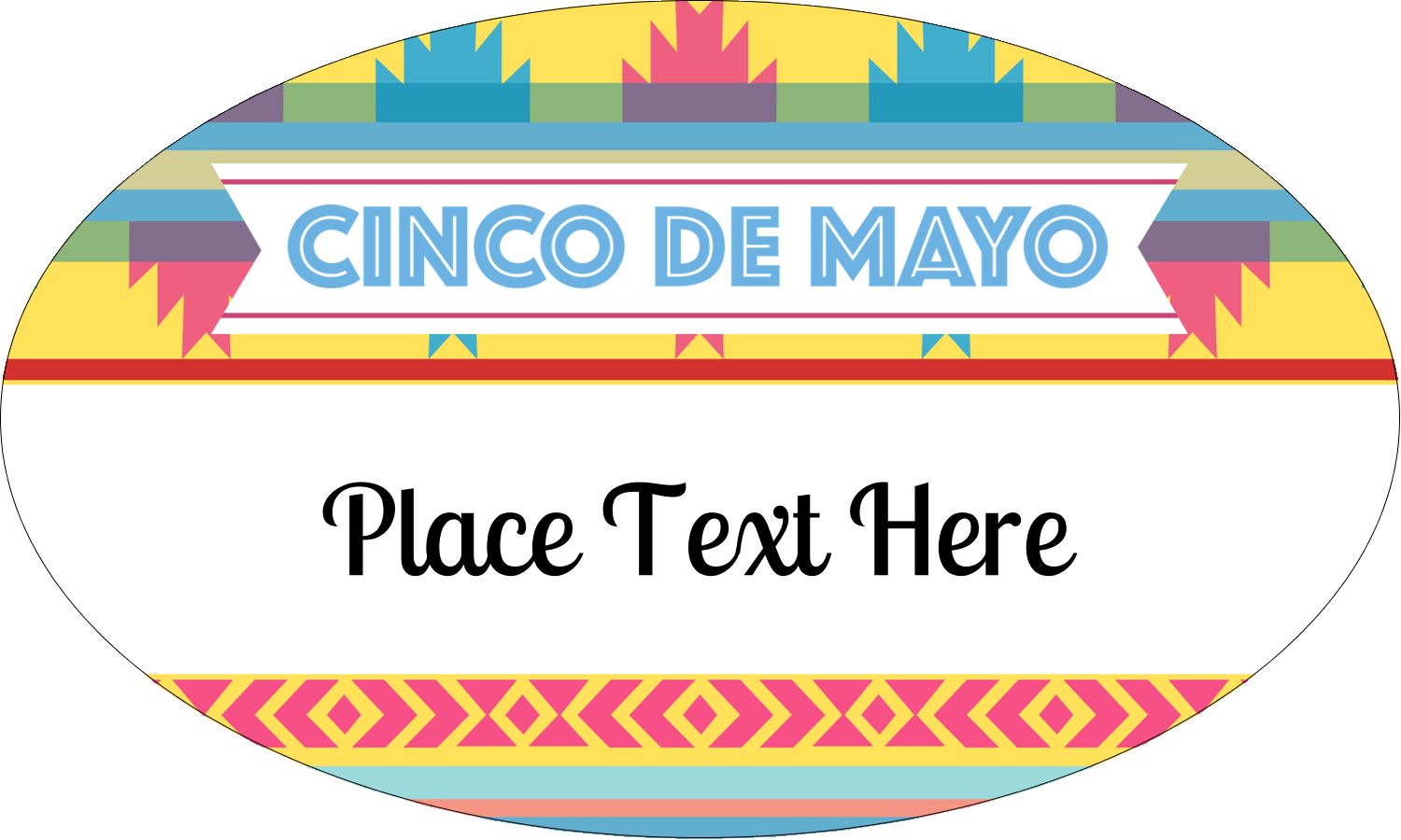 "1½"" x 2½"" Oval Glossy Label - Cinco de Mayo Serape"