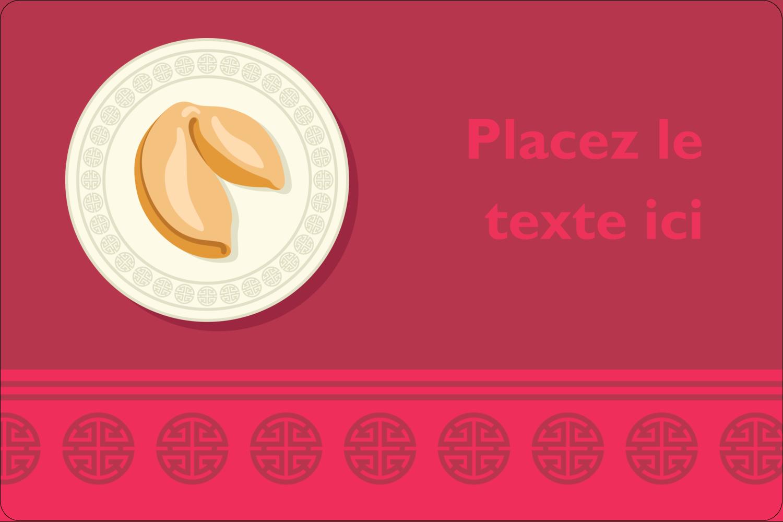 """3"""" x 3¾"""" Étiquettes rectangulaires - Nouvel An chinois avec biscuit"""