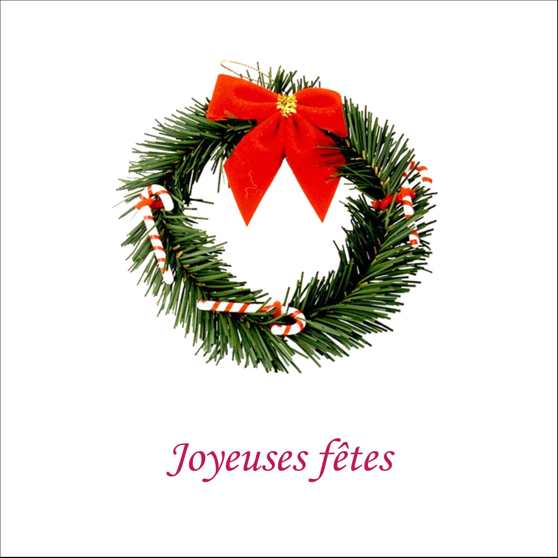 """2"""" x 2"""" Étiquettes carrées - Couronne de Noël"""