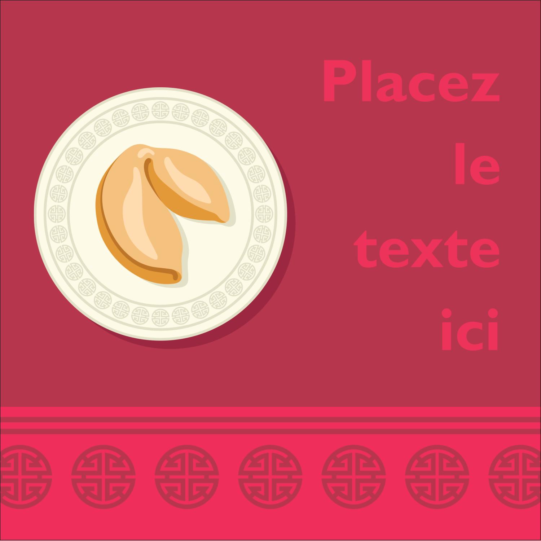 """2"""" Diameter Étiquettes rondes - Nouvel An chinois avec biscuit"""