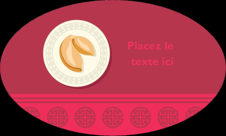 """1½"""" x 1½"""" Étiquettes carrées - Nouvel An chinois avec biscuit"""