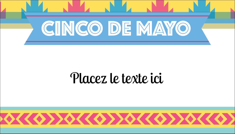 """2"""" x 3½"""" Carte d'affaire - Serape de Cinco de Mayo"""