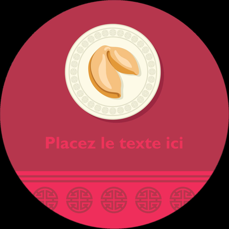 """2¼"""" x ¾"""" Étiquettes Voyantes - Nouvel An chinois avec biscuit"""