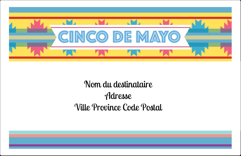 """1½"""" x 4"""" Étiquettes d'adresse - Serape de Cinco de Mayo"""