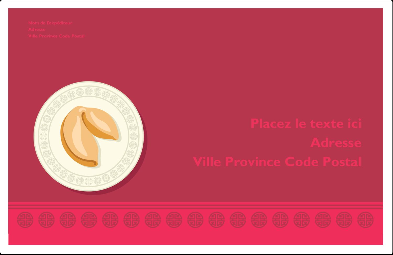 """1½"""" x 4"""" Étiquettes d'adresse - Nouvel An chinois avec biscuit"""