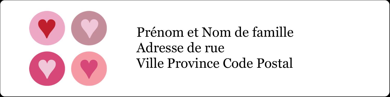 """1⅓"""" x 4"""" Étiquettes d'adresse - Cœurs encerclés"""