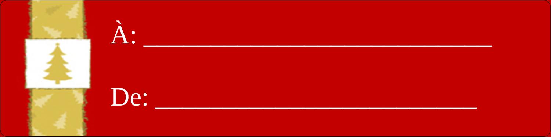 """1⅓"""" x 4"""" Étiquettes d'adresse - Arbre de Noël sur fond rouge"""