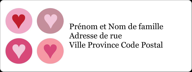 """1"""" x 4"""" Étiquettes d'adresse - Cœurs encerclés"""