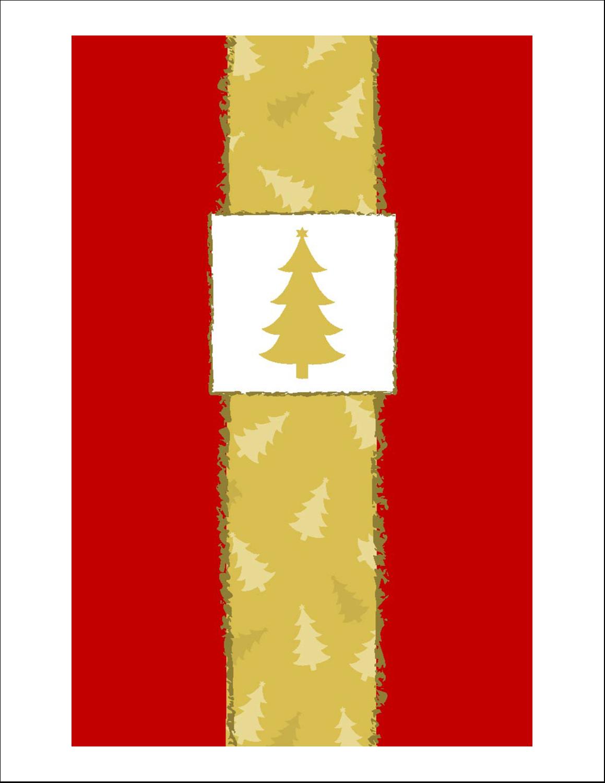 """8½"""" x 11"""" Cartes Et Articles D'Artisanat Imprimables - Arbre de Noël sur fond rouge"""
