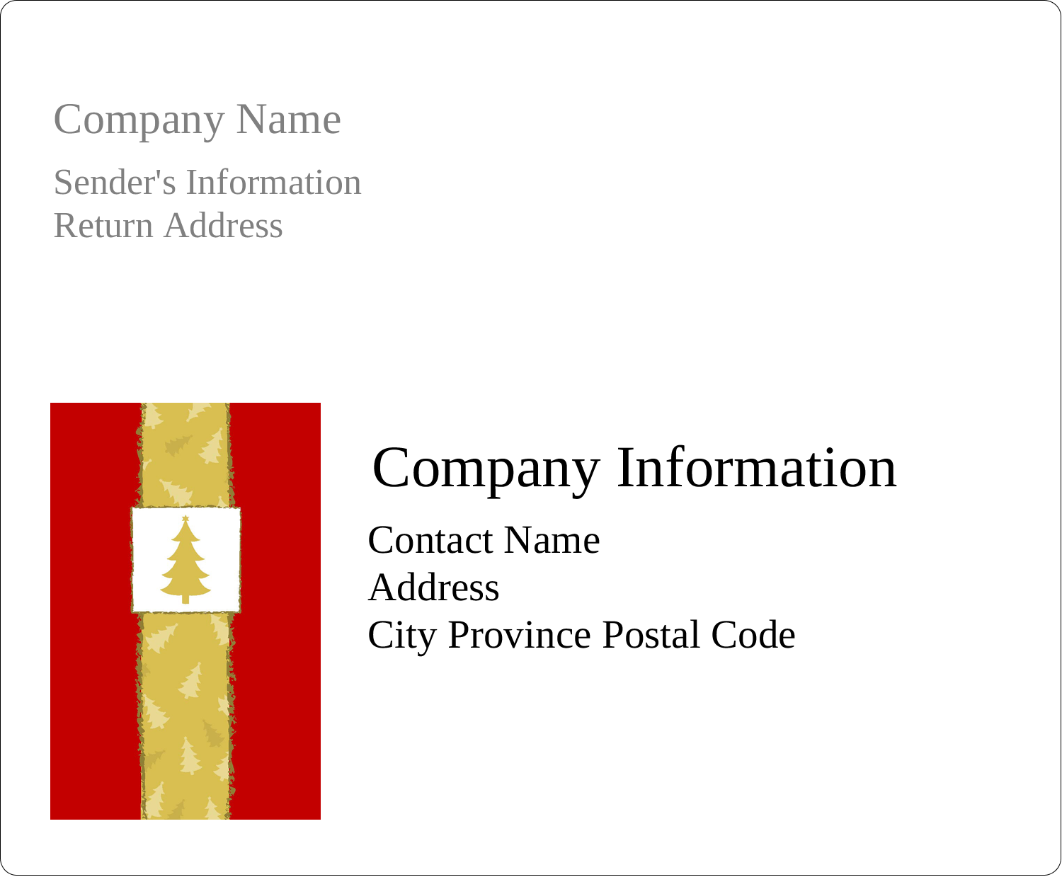 "4"" x 3⅓"" Shipping Label - Christmas Red Tree"