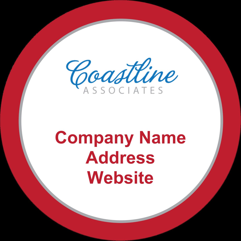 """2½"""" Round Label - Coastline Red"""