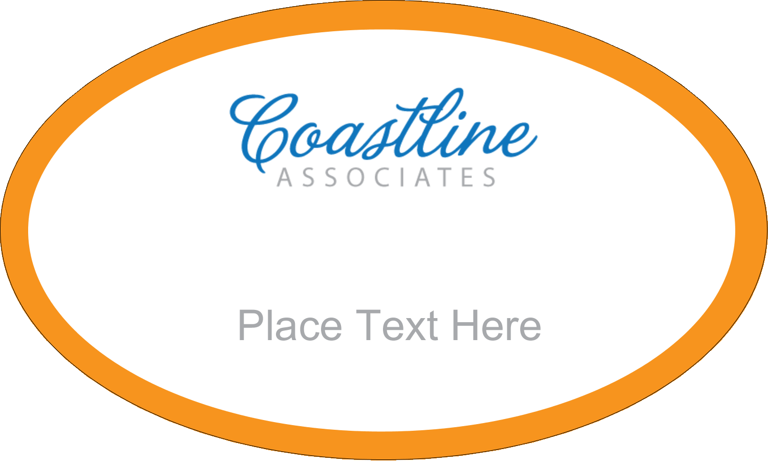 "1½"" x 2½"" Oval Glossy Label - Coastline Orange"