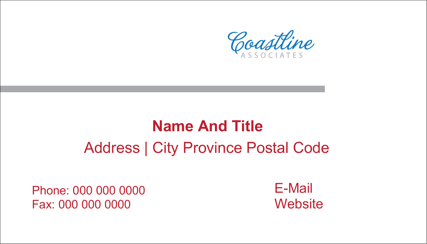 "2"" x 3½"" Business Card - Coastline Red"