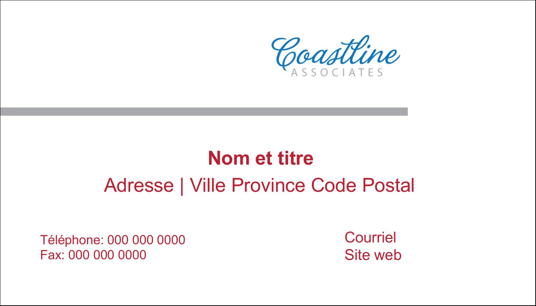 """2"""" x 3½"""" Carte d'affaire - Littoral rouge"""