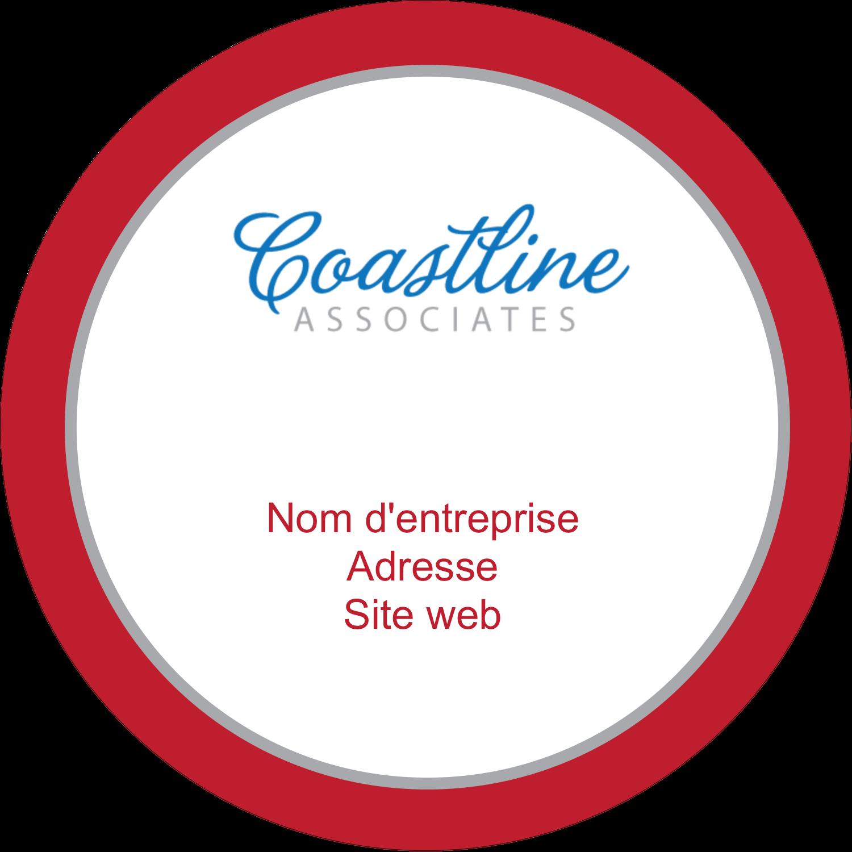 """2½"""" Diameter Étiquettes rondes - Littoral rouge"""