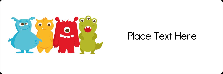 "1⅓"" x 4"" Address Label - Cute Monsters"