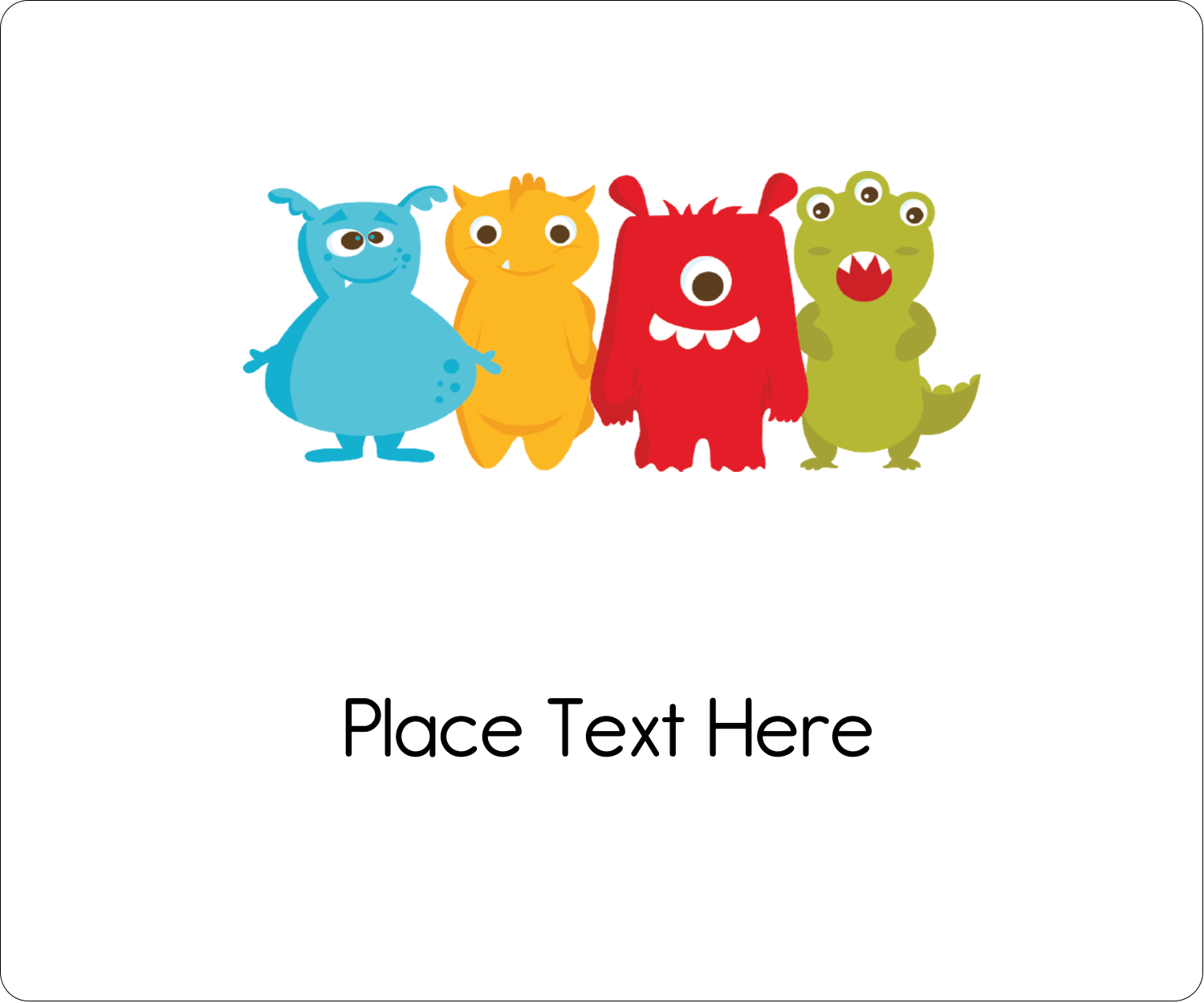 """4"""" x 3⅓"""" ID Label - Cute Monsters"""