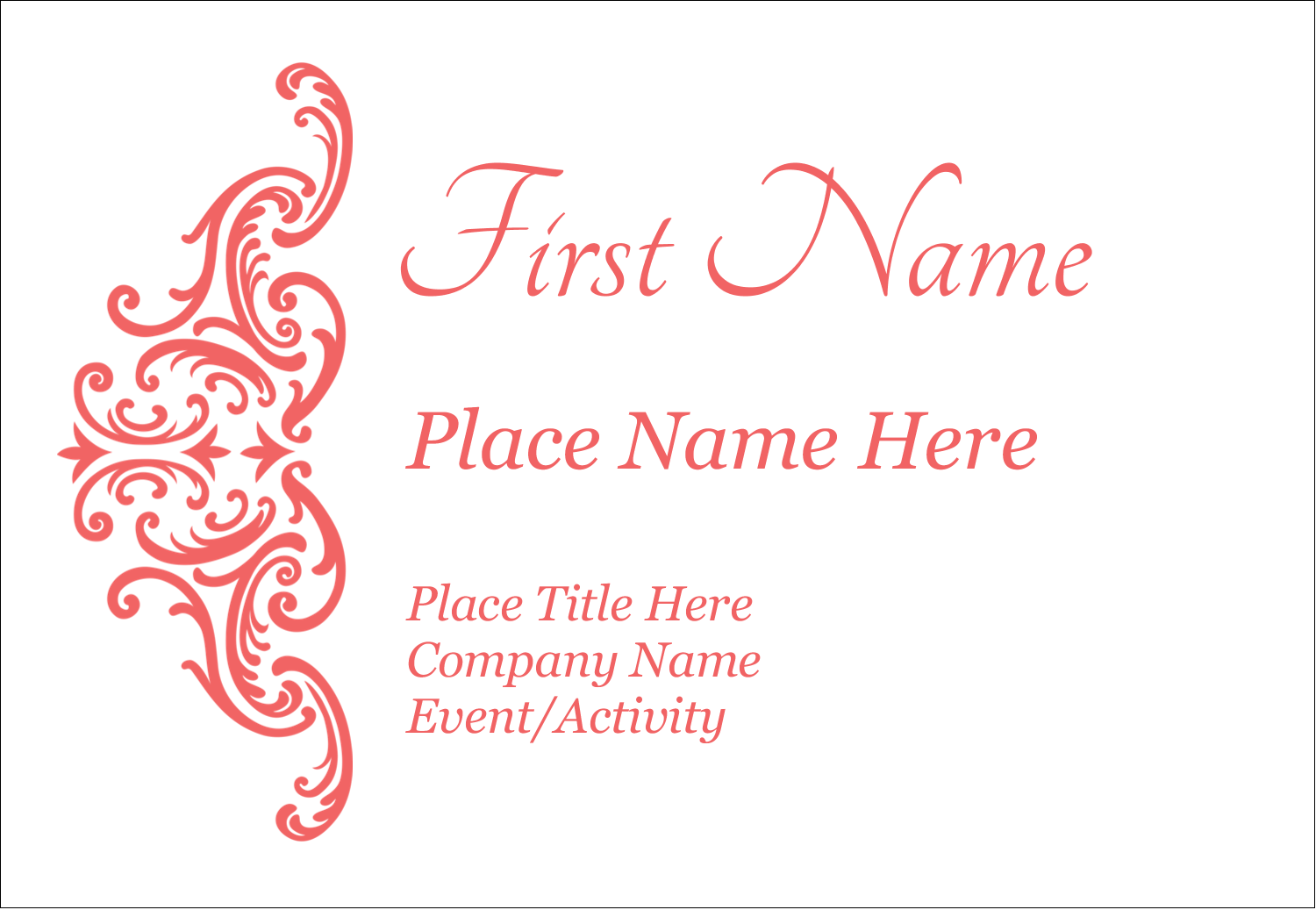 "3⅜"" x 2⅓"" Name Badge - Wedding Elegance"