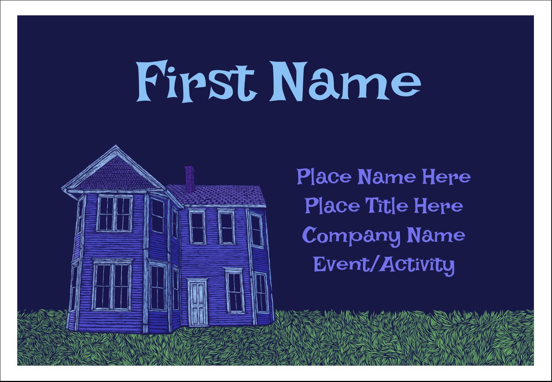 "3⅜"" x 2⅓"" Name Badge - Halloween Haunted House Chalk"