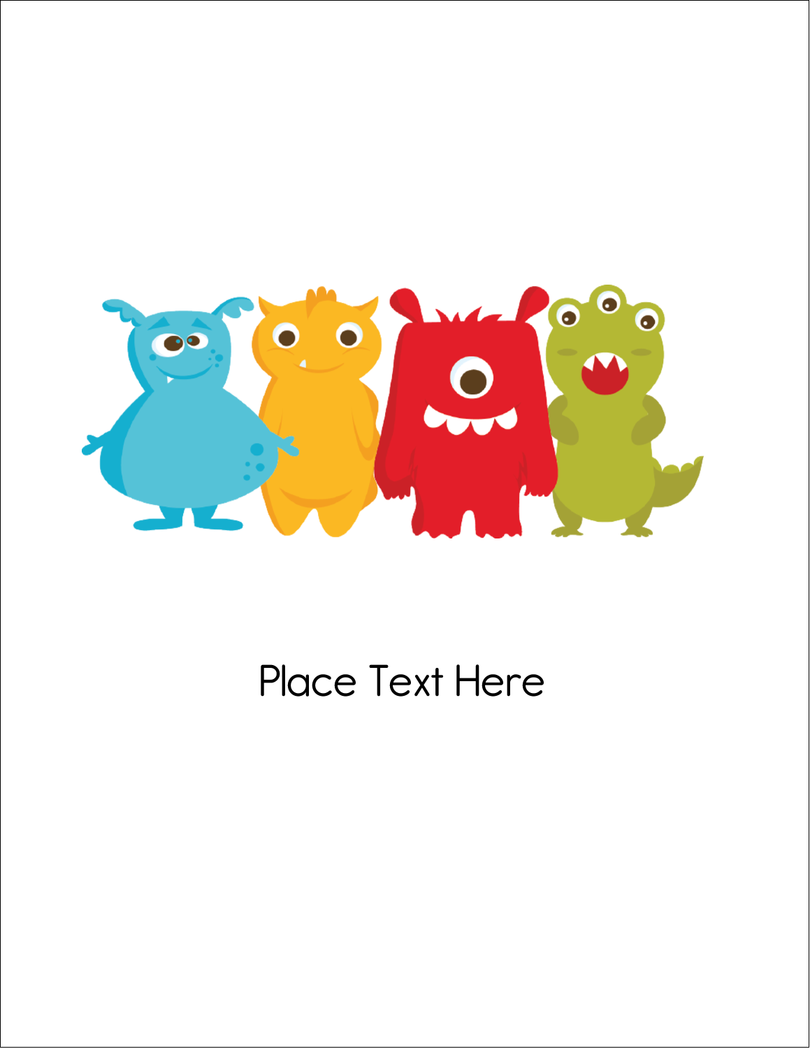 "8½"" x 11"" Slant D Ring Binder - Cute Monsters"