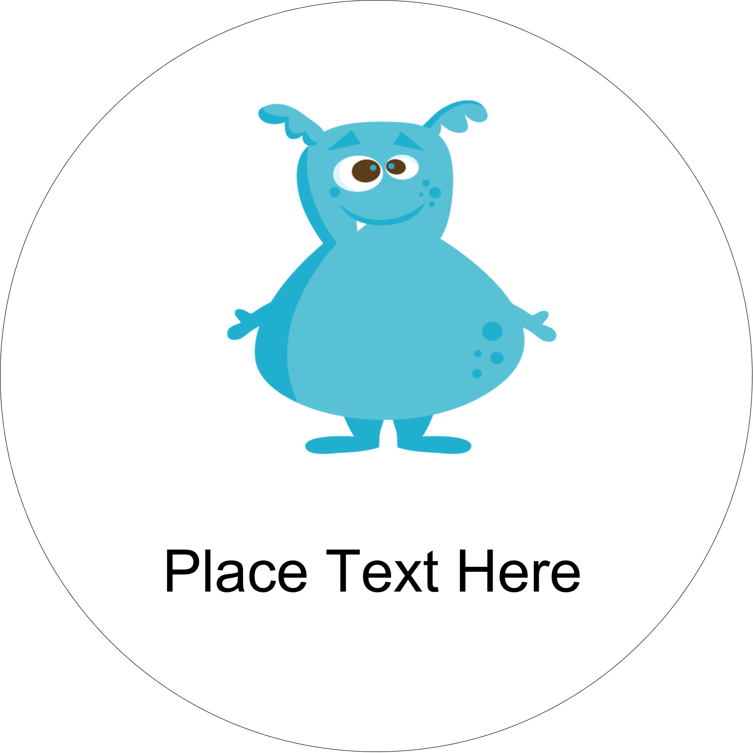"2½"" Round Label - Cute Monsters"