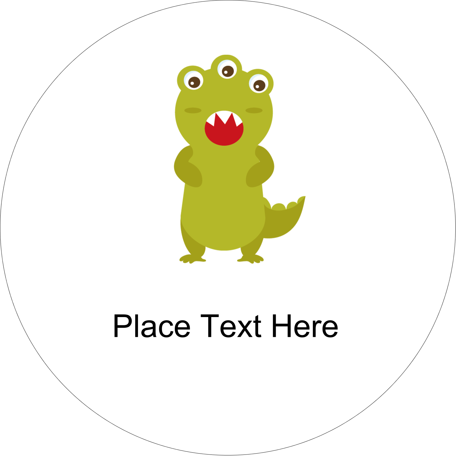 "2"" Embossed Round Label - Cute Monsters"