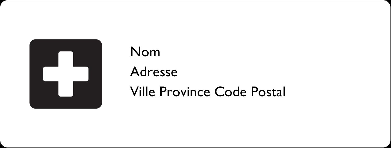 """1"""" x 2⅝"""" Étiquettes d'adresse - Croix médicale"""