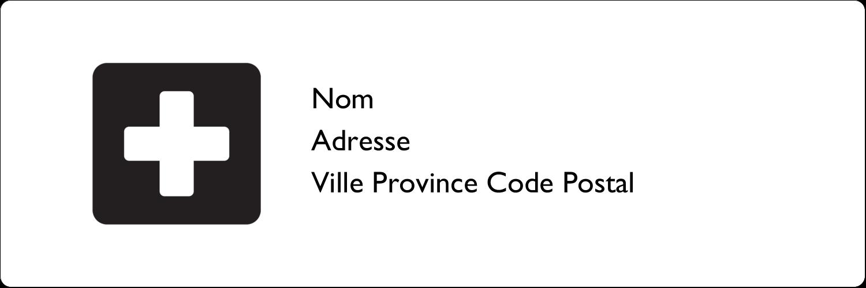 """1⅓"""" x 4"""" Étiquettes d'adresse - Croix médicale"""