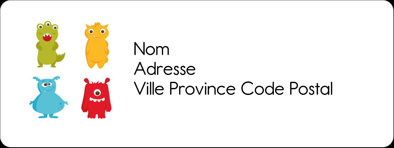 """1½"""" x 4"""" Étiquettes D'Adresse - Monstres mignons"""