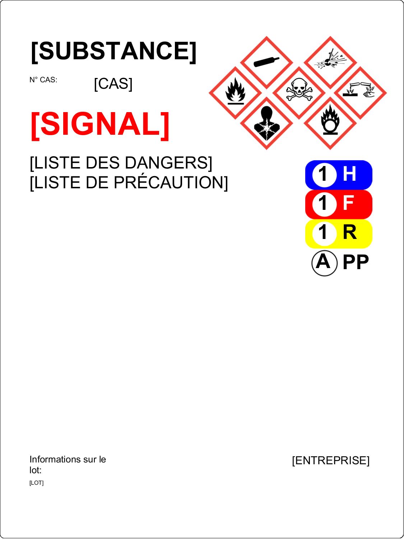 """3-5/16"""" x 2-5/16"""" Étiquette Industrielles - Assistant SGH"""
