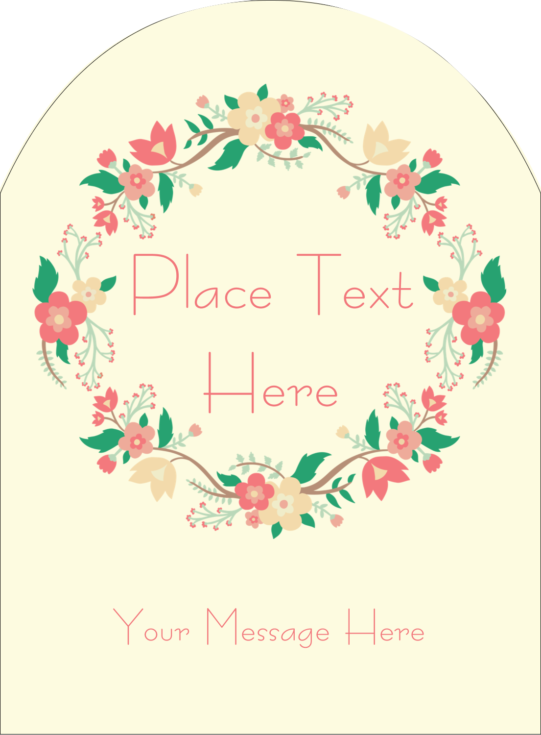 "4¾"" x 3½"" Arched Label - Floral Wreath"