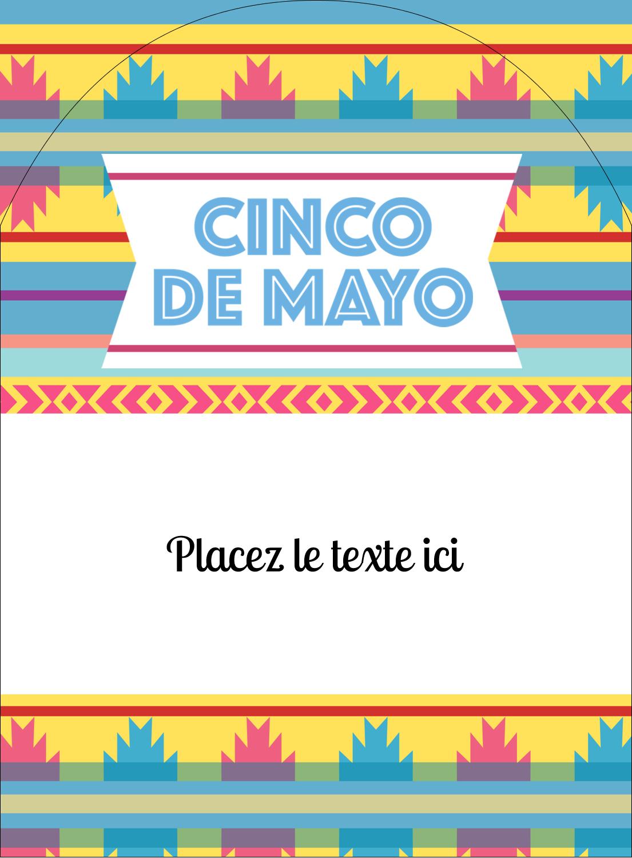 """4¾"""" x 3½"""" Étiquettes rectangulaires - Serape de Cinco de Mayo"""