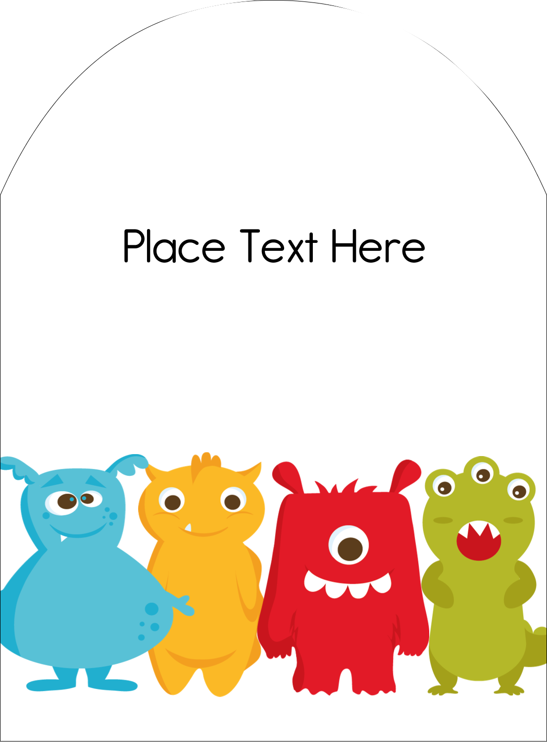 """4¾"""" x 3½"""" Arched Label - Cute Monsters"""