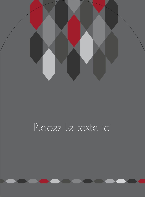 """4¾"""" x 3½"""" Étiquettes rectangulaires - Hexagone rouge"""