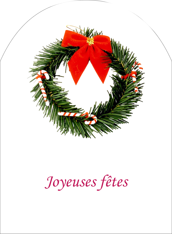 """4¾"""" x 3½"""" Étiquettes arrondies - Couronne de Noël"""