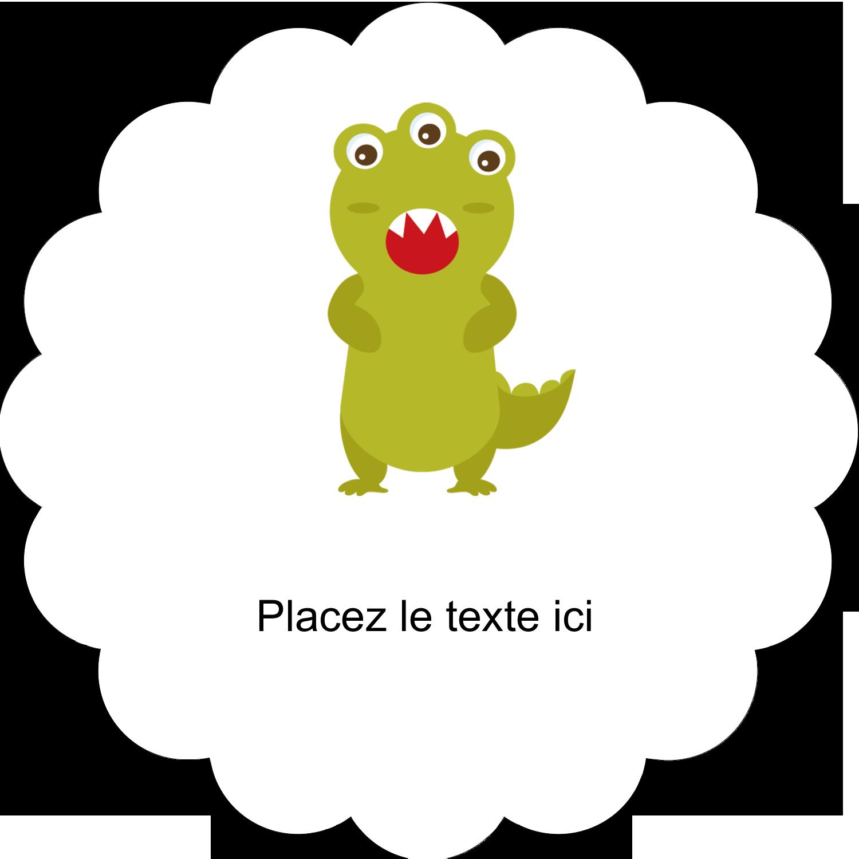 """2"""" Diameter Étiquettes festonnées - Monstres mignons"""
